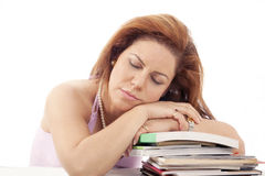 Asleep on books Royalty Free Stock Images