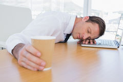 Asleep businessman on his laptop. While he is holding a cup of coffee Stock Image