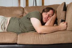 Man who just couldn't stay awake Stock Photography