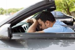 Asleep at driving wheel Stock Photo