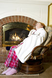 Asleep by the Fire Royalty Free Stock Photos
