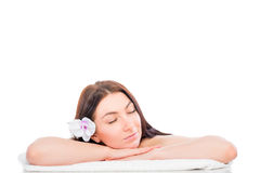 Asleep girl on spa treatments Royalty Free Stock Image