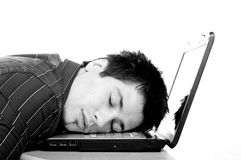 Asleep on his laptop Royalty Free Stock Images