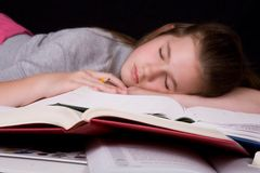 Asleep on Homework Royalty Free Stock Photo