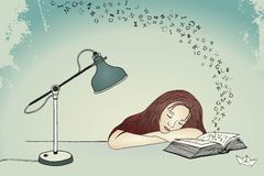Asleep while reading. Drawing of a young woman who fell asleep while reading or studying Royalty Free Stock Image