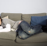 Asleep on sofa Royalty Free Stock Photography