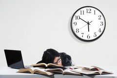 Asleep student while studying time Stock Image