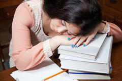 Asleep while studying Stock Images