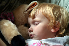 Asleep with a stuffed horse. This little girl fell asleep with her favorite stuffed animal Stock Image