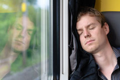 Asleep in the train Stock Photography