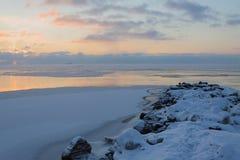 Asleeping sea. Early winter, freezing sea, first thin ice, twilight Royalty Free Stock Photo
