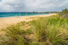 Aslings beach in Eden, New South Wales in Australia royalty free stock photography