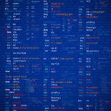 Asm. Assembler abstract program code listing on a monitor. Programming or debugging process vector illustration Stock Image