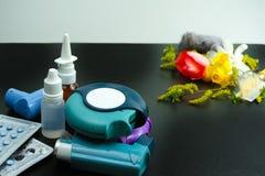 Asma del concetto di sollievo di allergia, allergeni stagionali - polline Immagine Stock
