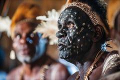 Asmat avec une peinture traditionnelle sur un visage, le chapeau du cuscus et les plumes de cacatoès Images stock