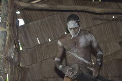 Asmat with a drum. Stock Photo