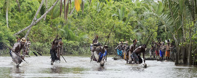 Asmat men paddling in their dugout canoe. Canoe war ceremony of Asmat people. Headhunters of a tribe of Asmat show traditional and national customs, dresses Stock Photo