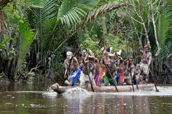 Asmat men paddling in their dugout canoe. INDONESIA, IRIAN JAYA, ASMAT PROVINCE, JOW VILLAGE - JUNY 28:  Canoe war ceremony of Asmat people.  Asmat men paddling Stock Photos