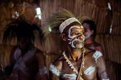 The Asmat Papua Welcoming ceremony. Stock Photo