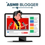 ASMR Blogger Channel Vector. Female. Fast Help To Sleep. Insomnia Concept. Isolated Illustration. ASMR Blogger Channel Vector. Woman. Relax Effect. Insomnia Stock Illustration