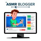 ASMR-Blogger-Kanal-Vektor Mann flüstern Schlaflosigkeitskonzept Getrennte Abbildung lizenzfreie abbildung