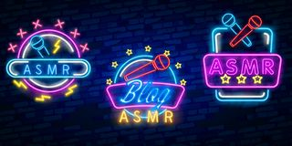 ASMR Neon Vector Text. Autonomous sensory meridian response neon sign, design template, modern trend design, night neon. ASMR Neon Text Vector. Autonomous royalty free illustration