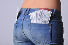 Asno caliente de la muchacha con los dólares en efectivo Imagenes de archivo