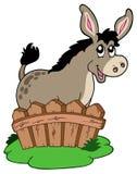 Asno dos desenhos animados atrás da cerca Fotografia de Stock Royalty Free