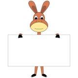 Asno dos desenhos animados com placa do sinal Imagens de Stock