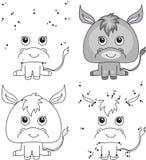 Asno dos desenhos animados Livro para colorir e ponto para pontilhar o jogo para crianças Foto de Stock Royalty Free
