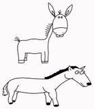 Asno e cavalo Fotografia de Stock Royalty Free