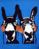 Asnos dos grafittis do estêncil Fotos de Stock Royalty Free