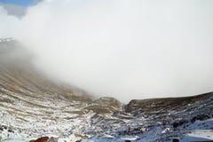 Aso火山在冬天;日本 库存图片