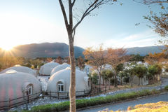 Aso bylantgård, Kumamoto, Kyushu, Japan Arkivfoto