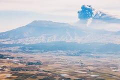 Aso volcano in winter Stock Image