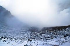 Aso vulkan i vinter; Japan Arkivbilder