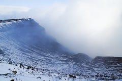 Aso vulkan i vinter; Japan Arkivfoto