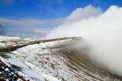 Aso vulkan i vinter; Japan Arkivfoton