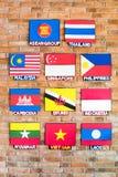 Asociación de las banderas asiáticas surorientales de las naciones fotografía de archivo libre de regalías