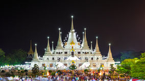 Asokaram Temple, Samutprakarn Province, Thailand. Samutprakarn, Thailand - February 22, 2016 : Buddhist in Thailand come to pray in Magha Puja Day at Asokaram Stock Photos
