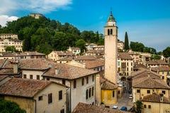 Asolo, Itália, vista de Asolo do castelo da rainha Cornaro foto de stock royalty free