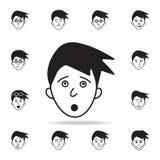 asombro en icono de la cara Sistema detallado de iconos faciales de las emociones Diseño gráfico superior Uno de los iconos de la libre illustration