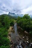 Ason river crossing by Ramales de la Victoria, Cantabria, Spain.  Royalty Free Stock Photos