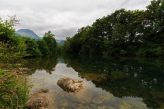 Ason River Reflections by Ramales de la Victoria, Cantabria. Spain Stock Image