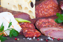 Asorted sausage, salami and ham Royalty Free Stock Photography