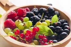 Asortowane świeże ogrodowe jagody na drewnianym tle Obrazy Stock