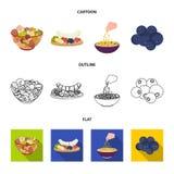 Asortowane dokrętki, owoc i inny jedzenie, Jedzenie ustalone inkasowe ikony w kreskówce, kontur, mieszkanie symbolu stylowy wekto Zdjęcia Royalty Free
