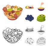 Asortowane dokrętki, owoc i inny jedzenie, Jedzenie ustalone inkasowe ikony w kreskówce, konturu symbolu stylowy wektorowy zapas Obrazy Stock