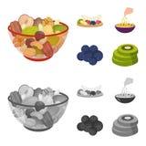 Asortowane dokrętki, owoc i inny jedzenie, Jedzenie ustalone inkasowe ikony w kreskówce, monochromu symbolu stylowy wektorowy zap Fotografia Stock