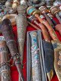 Asortowane Nepalskie pamiątki, khukuri i modlitewni koła, Obraz Royalty Free